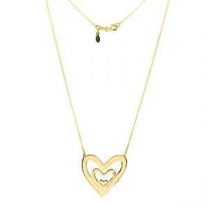 collar corazon triple oro