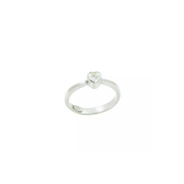 Anillo Piedra Corazón de 5mm en Plata